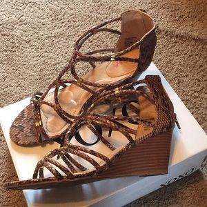 XOXO Snakeskin Wedge Sandal